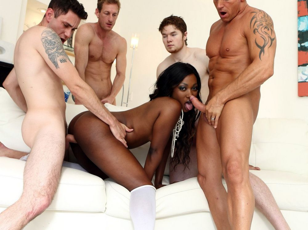 Four white cock turn fuck dark-hued..
