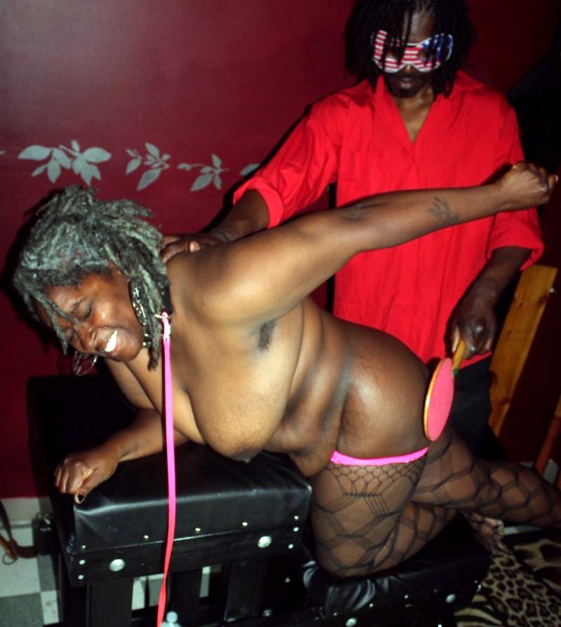 Ebony hubby trussed up his fatty..